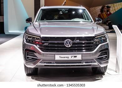 Geneva, Switzerland, March 05, 2019: all-new Volkswagen VW Touareg R-Line at Geneva International Motor Show, Third generation, MLB platform, mid-size luxury crossover SUV produced by Volkswagen