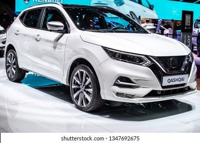 Geneva, Switzerland, March 05, 2019: metallic white Nissan Qashqai at Geneva International Motor Show, Second generation, J11, compact crossover SUV produced by Japanese car manufacturer Nissan