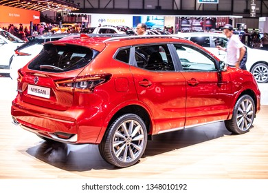 Geneva, Switzerland, March 05, 2019: metallic red Nissan Qashqai at Geneva International Motor Show, Second generation, J11, compact crossover SUV produced by Japanese car manufacturer Nissan since 20