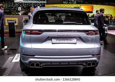 Geneva, Switzerland, March 05, 2019: Porsche Cayenne Turbo at Geneva International Motor Show, Third generation, MK3, MLB platform, mid-size luxury crossover sport utility vehicle SUV from Porsche