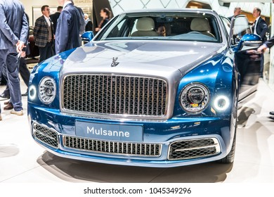 Geneva, Switzerland, March 06, 2018: metallic blue Bentley Mulsanne at 88th Geneva International Motor Show GIMS