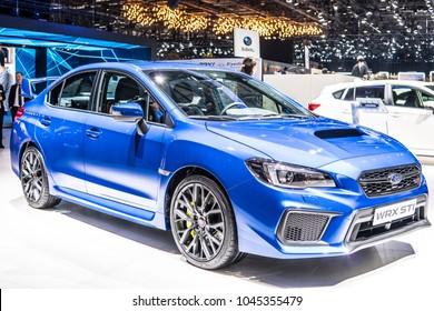 Geneva, Switzerland, March 06, 2018: metallic blue Subaru WRX STI at 88th Geneva International Motor Show GIMS