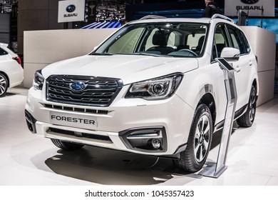 Geneva, Switzerland, March 06, 2018: metallic white Subaru Forester at 88th Geneva International Motor Show GIMS