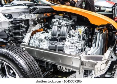 Geneva, Switzerland, March 06, 2018: cross section of metallic orange Subaru XV at 88th Geneva International Motor Show GIMS