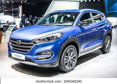 Geneva, Switzerland, March 06, 2018: metallic blue Hyundai Tucson GO! at 88th Geneva International Motor Show GIMS, produced by South Korean multinational automotive manufacturer Hyundai Motor Company