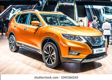 Geneva, Switzerland, March 06, 2018: metallic gold Nissan X-Trail at 88th Geneva International Motor Show GIMS, compact crossover produced by Japanese car manufacturer Nissan
