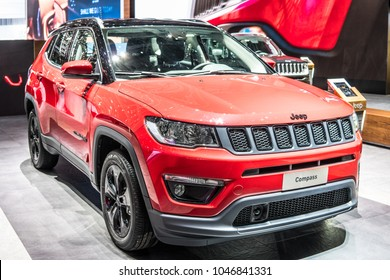 Geneva, Switzerland, March 06, 2018: metallic red Jeep Compass 4x4 compact crossover SUV at 88th Geneva International Motor Show GIMS, Jeep is a brand of American automobiles