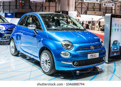Geneva, Switzerland, March 06, 2018: metallic blue Fiat 500 at 88th Geneva International Motor Show GIMS, manufactured and marketed by Fiat Chrysler Automobiles