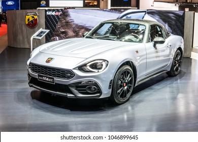 Geneva, Switzerland, March 06, 2018: metallic silver Fiat 124 GT Abarth Spider  at 88th Geneva International Motor Show GIMS, two passenger roadster manufactured by Fiat Chrysler Automobiles