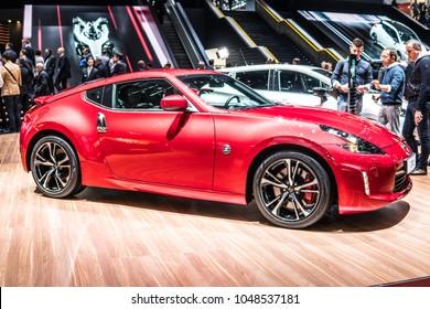 Geneva, Switzerland, March 06, 2018: Metallic Red Nissan 370Z At 88th Geneva