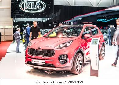 Geneva, Switzerland, March 06, 2018: metallic red Kia Sportage GT Line at 88th Geneva International Motor Show GIMS, compact SUV built by South Korean manufacturer Kia Motor Corporation