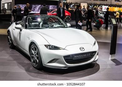 Geneva, Switzerland, March 06, 2018: metallic white Mazda MX-5 ST at 88th Geneva International Motor Show GIMS