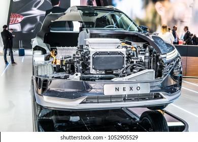 Geneva, Switzerland, March 06, 2018: Hyundai Nexo is Hydrogen Fuel Cell powered crossover SUV at 88th Geneva International Motor Show GIMS, The Nexo has driving range of 800km