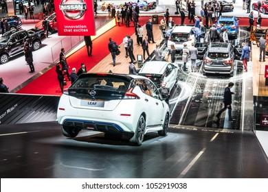 Geneva, Switzerland, March 06, 2018: metallic white Nissan Leaf at 88th Geneva International Motor Show GIMS, compact five-door hatchback electric car manufactured by Nissan
