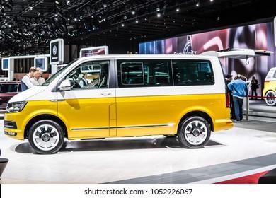 Geneva, Switzerland, March 06, 2018: metallic yellow white Volkswagen VW Multivan 70 Jahre Years at 88th Geneva International Motor Show GIMS