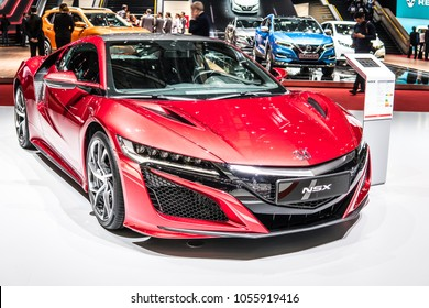 Geneva, Switzerland, March 06, 2018: metallic red Honda NSX at 88th Geneva International Motor Show GIMS