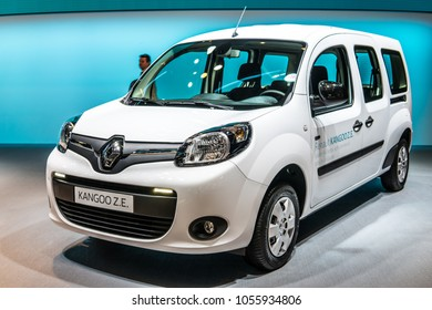 Geneva, Switzerland, March 06, 2018: metallic white electric Renault Kangoo Z.E. at 88th Geneva International Motor Show GIMS, produced by French multinational automobile manufacturer Renault
