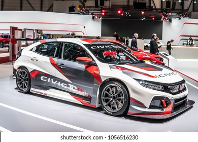 Geneva, Switzerland, March 06, 2018: Honda CIVIC Type-R TCR Racing JAS Motorsport at 88th Geneva International Motor Show GIMS, car manufactured by Honda