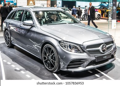Geneva, Switzerland, March 06, 2018: Mercedes Benz C-Class 220 D station wagon at 88th Geneva International Motor Show GIMS, produced by Mercedes-Benz