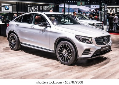 Geneva, Switzerland, March 06, 2018: metallic silver Mercedes Benz GLC 250d 4Matic at 88th Geneva International Motor Show GIMS, produced by Mercedes-Benz