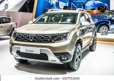Geneva, Switzerland, March 06, 2018: new metallic DACIA DUSTER at 88th Geneva International Motor Show GIMS, Automobile Dacia booth, Romanian car manufacturer