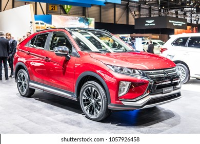 Geneva, Switzerland, March 06, 2018: metallic red Mitsubishi Eclipse Cross at 88th Geneva International Motor Show GIMS, compact crossover SUV produced by Japanese automaker Mitsubishi Motors