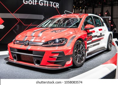 Geneva, Switzerland, March 06, 2018: metallic white Volkswagen VW New Golf GTI TCR Performance at 88th Geneva International Motor Show GIMS, produced by Volkswagen Group