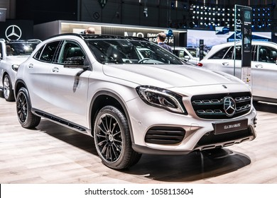 Geneva, Switzerland, March 06, 2018: Mercedes Benz GLA 200d 4Matic at 88th Geneva International Motor Show GIMS, car produced by Mercedes-Benz