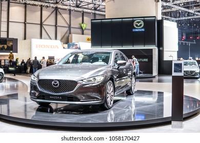 Geneva, Switzerland, March 06, 2018: metallic graphite silver Mazda 6 at 88th Geneva International Motor Show GIMS