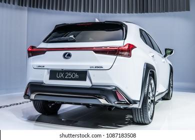 Geneva, Switzerland, March 06, 2018: metallic white All-New Lexus UX 250h hybrid compact luxury Crossover at 88th Geneva International Motor Show GIMS, produced by Japanese car maker Lexus