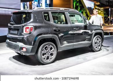 Geneva, Switzerland, March 06, 2018: metallic black Jeep Renegade at 88th Geneva International Motor Show GIMS, subcompact crossover SUV produced by Jeep