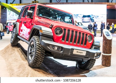 Geneva, Switzerland, March 06, 2018: metallic red Jeep Wrangler Rubicon at 88th Geneva International Motor Show GIMS, four-wheel drive off-road vehicle manufactured by Jeep