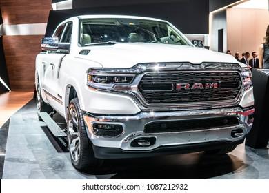 Geneva, Switzerland, March 06, 2018: The new generation RAM 1500 – model year 2019 at 88th Geneva International Motor Show GIMS, full-size pickup truck manufactured by Ram Trucks