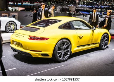 Geneva, Switzerland, March 06, 2018: metallic yellow Porsche 911 Carrera T at 88th Geneva International Motor Show GIMS, sports cars built by Porsche