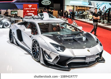 Geneva, Switzerland, March 06, 2018: metallic silver Lamborghini Aventador S Roadster by Liberty Walk LB Works LP700-4 at 88th Geneva International Motor Show GIMS