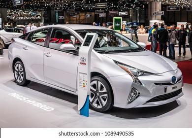 Geneva, Switzerland, March 06, 2018: metallic silver Toyota Prius at 88th Geneva International Motor Show GIMS, electric Hybrid produced by Japanese automaker Toyota