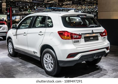 Geneva, Switzerland, March 06, 2018: metallic white Mitsubishi ASX at 88th Geneva International Motor Show GIMS, compact crossover SUV produced by Japanese automaker Mitsubishi Motors