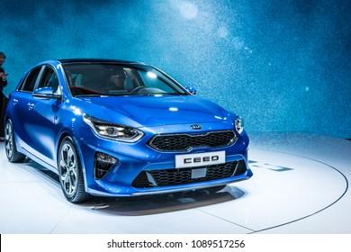 Geneva, Switzerland, March 06, 2018: metallic blue new Kia Ceed hatchback at 88th Geneva International Motor Show GIMS, compact car produced by South Korean manufacturer Kia Motors