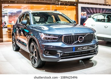 Geneva, Switzerland, March 06, 2018: metallic blue Volvo XC40 at 88th Geneva International Motor Show GIMS, compact crossover SUV manufactured and marketed by Volvo Cars, Car of the Year 2018