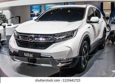 Geneva, Switzerland, March 06, 2018: metallic white Honda CR-V Hybrid Prototype at 88th Geneva International Motor Show GIMS, compact crossover manufactured by Honda