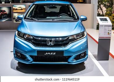 Geneva, Switzerland, March 06, 2018: metallic blue Honda JAZZ Fit Fitto at 88th Geneva International Motor Show GIMS, B-segment subcompact car manufactured and marketed by Honda