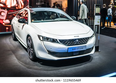 Geneva, Switzerland, March 06, 2018: metallic white new Peugeot 508 GT Line at 88th Geneva International Motor Show GIMS- car produced by Peugeot - French car manufacturer, part of Groupe PSA