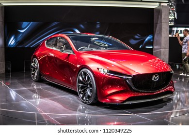 Geneva, Switzerland, March 06, 2018: metallic red Mazda Kai Concept Superfast sports car presented at 88th Geneva International Motor Show GIMS