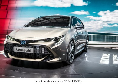 Geneva, Switzerland, March 06, 2018: metallic silver new Toyota Auris Hybrid at 88th Geneva International Motor Show GIMS, produced by Japanese automaker, Toyota booth