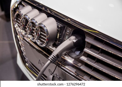 Geneva, Switzerland, March 06, 2018: The Audi A3 e-tron, charging place; The 88th International Motor Show in Geneva