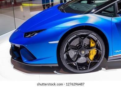 Geneva, Switzerland, March 06, 2018: Lamborghini Aventador Superfast sports car presented at the 88th Geneva International Motor Show.