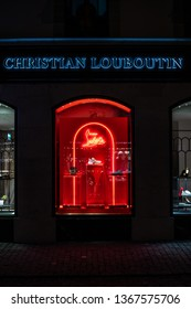 Geneva, Switzerland, March 09, 2019, Christian Louboutin store, Christian Louboutin is French fashion designer, owner of shoe salon with high-end stiletto footwear, handbags, fragrances and makeup.