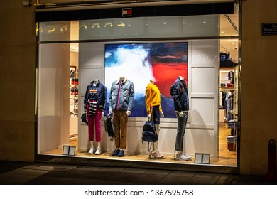 Geneva, Switzerland, March 09, 2019, Tommy Hilfiger store, Tommy Hilfiger is fashion designer, founder lifestyle brand Tommy Hilfiger Corporation, chain of jeans/fashion stores called People's Place