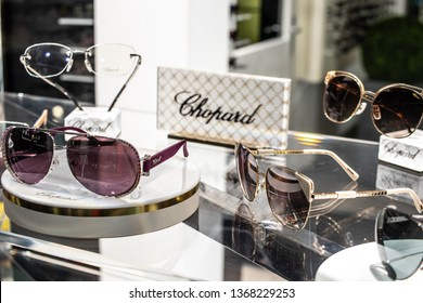 Geneva, Switzerland, March 09, 2019, Chopard sunglasses on display for sale, Eyewear Collections, Elegant, timeless and original, glasses and sunglasses Chopard created for men and women