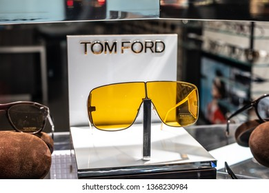 Geneva, Switzerland, March 09, 2019, Tom Ford sunglasses on display for sale, Eyewear Collections, Elegant, timeless and original, glasses and sunglasses Tom Ford created for men and women